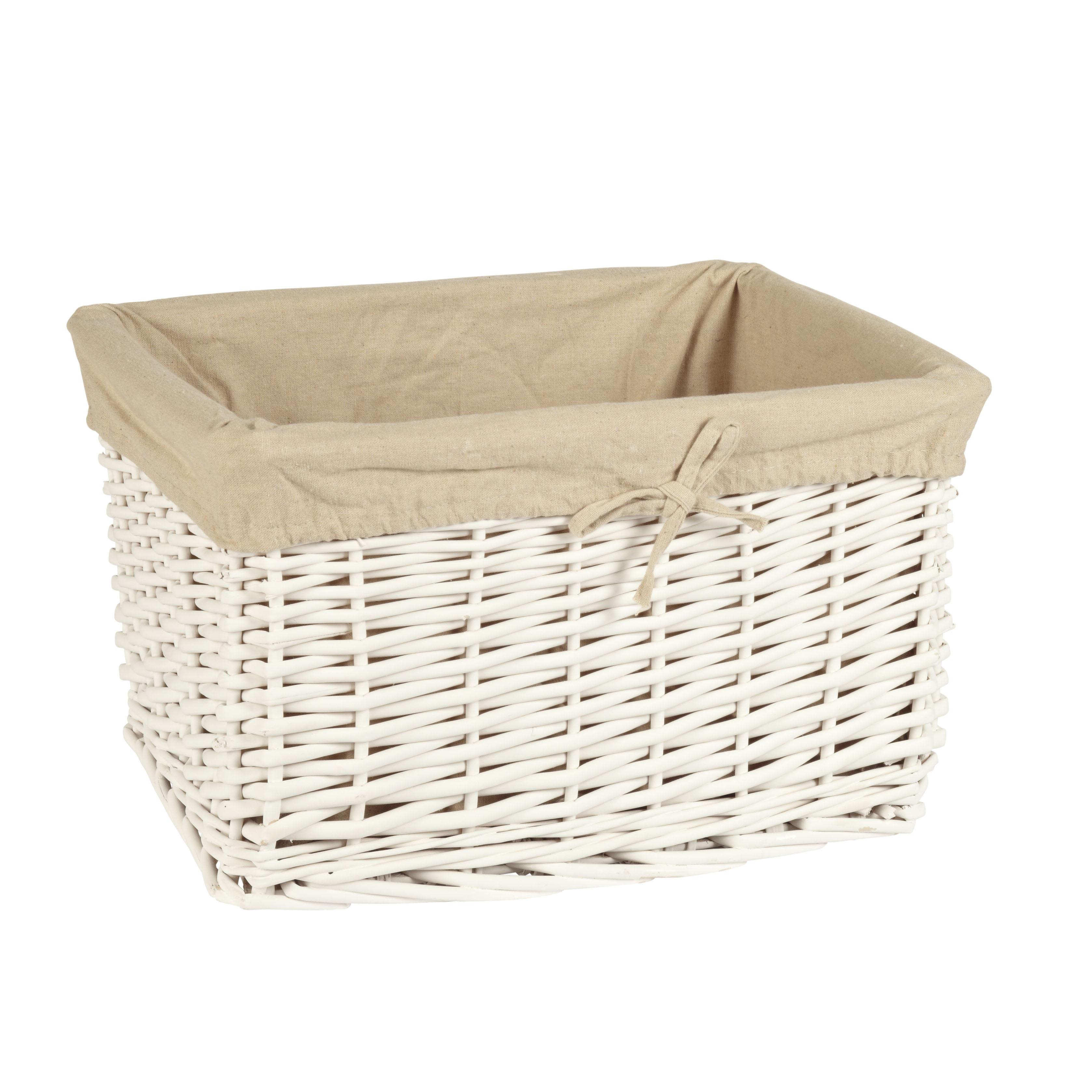 Cesta de mimbre blanca con forro de tela 31 22 18cm orden en casa - Como forrar cestas de mimbre ...