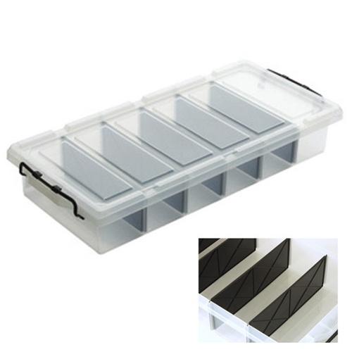 Caja bajo cama con compartimentos 27l orden en casa for Cajas bajo cama carrefour